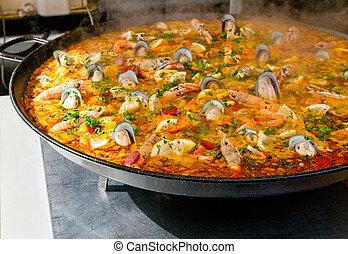 closeup of paella