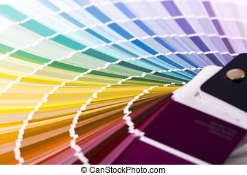 closeup of paint color sample catalog