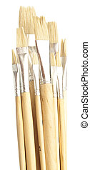 paintbrushes - closeup of paintbrushes stack on a white...