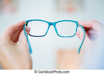 Closeup of pair of glasses