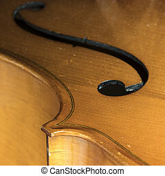 closeup of part string instrument cello with f holes