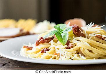 closeup of Pasta Carbonara. Spaghetti with bacon and parmesan cheese.