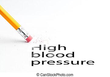 Closeup of pencil eraser and black high blood pressure text. High blood pressure. Pencil with eraser.