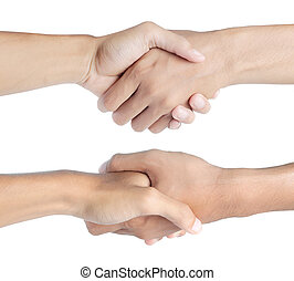 Closeup of people shaking hands. isolated on white
