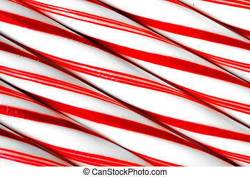 Closeup of peppermint candy canes side by side. Macro shot
