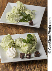 closeup of peppermint ice cream on plates