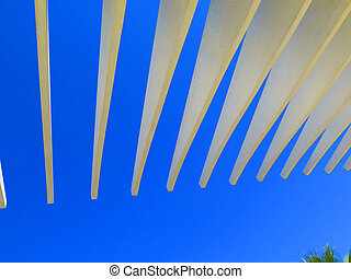 Promenade with a pergola at Muelle Uno in the port of Malaga, Andalusia Spain