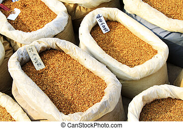 closeup of photo, dry tobacco powder in the market