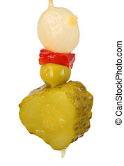 closeup of pickled gherkins on white background