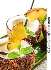 Closeup of pina colada in a coconut