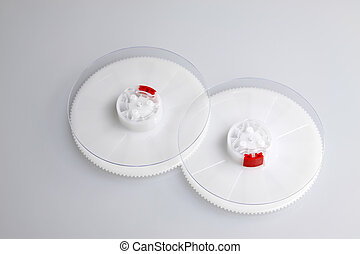 plastic parts on a white background