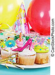 Plate of birthday cupcakes