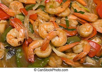 Shrimp - Closeup of plate of Shrimp with asparagus, bell ...
