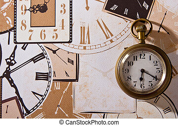 Closeup of pocket watch on paper detail decorate pattern