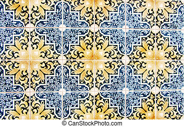 Closeup of Portuguese glazed tiles
