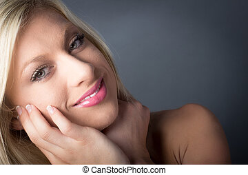 Closeup of pose Attractive Blond Woman smiling