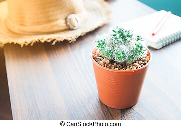 Closeup of pot of cactus, notebook and pen on table, Startup concept