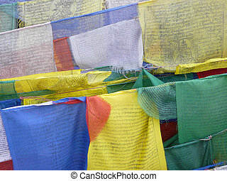 Closeup of prayer flags