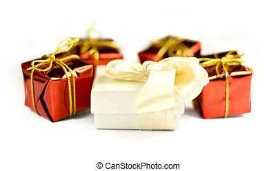 Closeup of presents on a white background