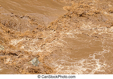 Closeup of rapid flow of brown water in the muddy river ...