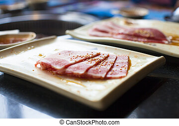 closeup of raw meat on a plate