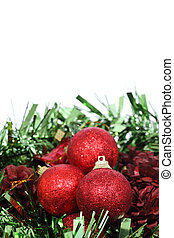 Closeup of Red Christmas balls on white background