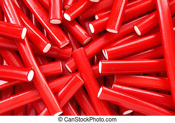 closeup of red licorice candy