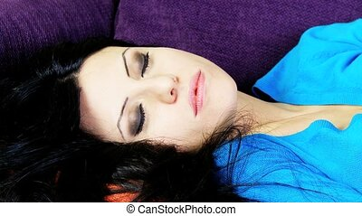 Closeup of relaxed woman sleeping