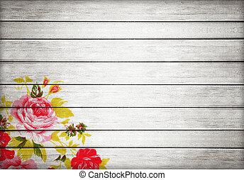 Closeup of retro rose fabric for grunge white wood background