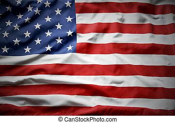 American flag - Closeup of ruffled American flag