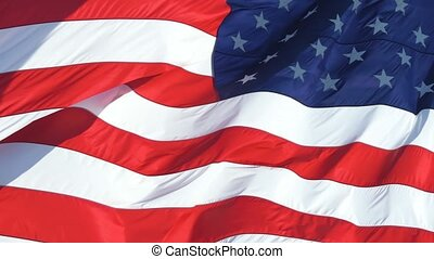 Waving American Flag Background on strong wind