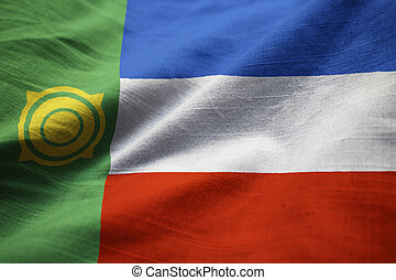 Closeup of Ruffled Khakassia Flag, Khakassia Flag Blowing in...