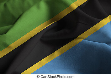 Closeup of Ruffled Tanzania Flag, Tanzania Flag Blowing in Wind
