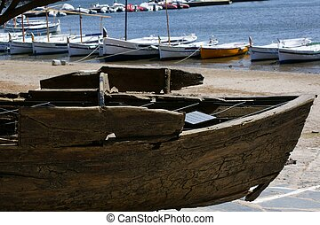 closeup of rustic old boat, italy