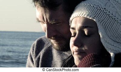 Closeup of sad couple suffering