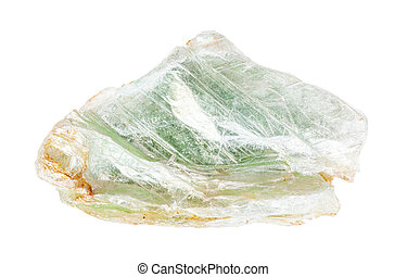 specimen of green Talc rock isolated on white - closeup of ...