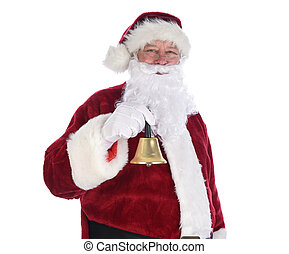 Closeup of Santa Claus holding a gold bell ringing in the holidays.