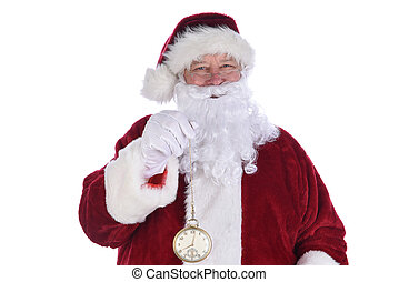 Closeup of Santa Claus holding a large gold pocket watch, isolated on white.