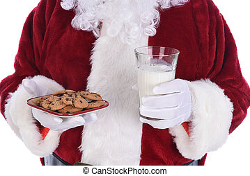 Closeup of Santa Claus holding a plate of chocolate chip cookies and a glass of milk.
