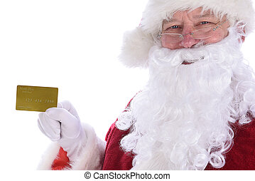 Closeup of Santa Claus holding his personal Noth Pole Gold Credit Card, isolated on white.
