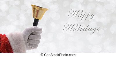 Santa Ringing a gold bell over a silver bokeh background with snow effect