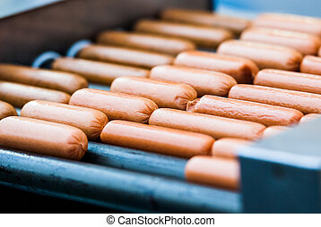 Closeup of sausage on the grill
