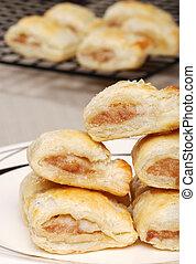 closeup of sausage rolls