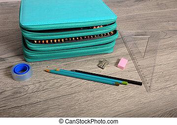 Closeup of School Gear and Pencil Case