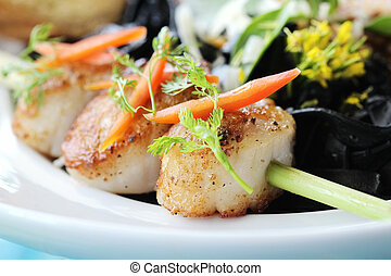 closeup of seared scallops