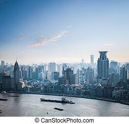 closeup of shanghai at dusk