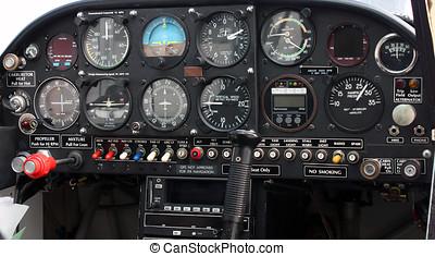 Closeup of Single-Engine Aircraft Cockpit Instrument Panel