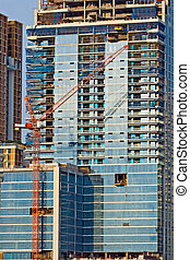 Closeup of Skyscraper Office Tower Under Construction in Bangkok Thailand
