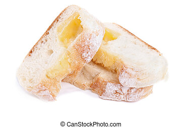 Closeup of slice cheese bread isolated on white