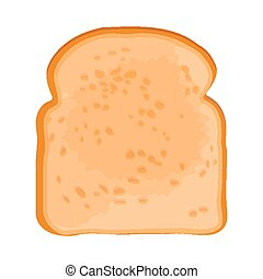 Closeup of slice of bread isolated illustration on white